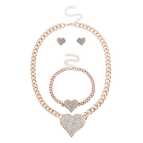 Lux Accessories Rose Gold Bling Heart Chain Earring Bracelet Necklace Set (3PCS)