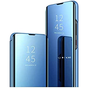 Indiacase Mobile Clear View Mirror Flip Cover for Samsung Galaxy M12 [Blue, Mirror Flip, Flip Cover for Samsung Galaxy…