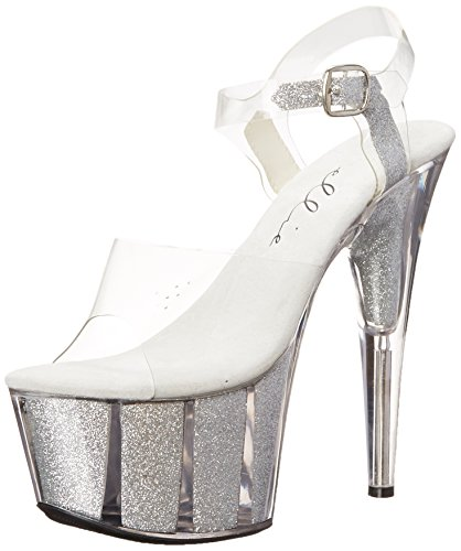 Ellie Shoes Women's 709-Glitter Platform Sandal, Silver, 6 M US