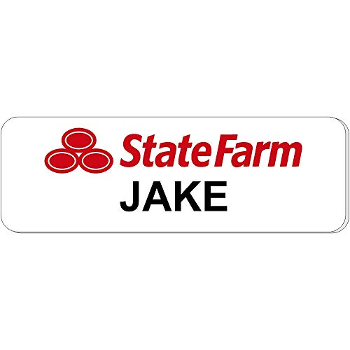 Jake from State Farm Halloween Costume Name Tag - Funny Halloween Costume (White) -
