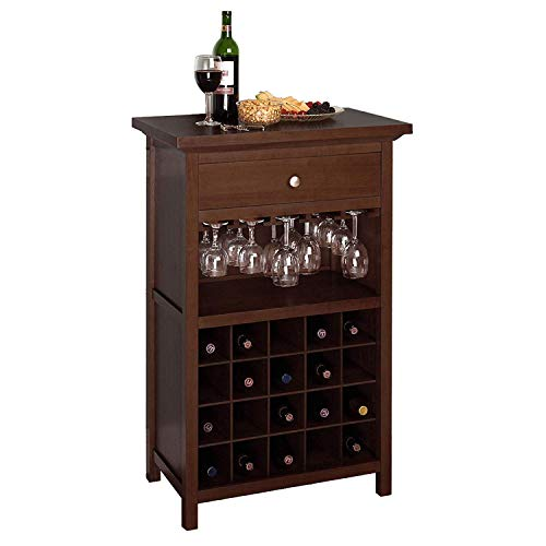Walnut Bottle Wine Cabinet Bar Glasses Storage Shelf Organizer Unit Furniture Living Room Kitchen Cupboard Rack Drawer Home Office Decorative Shelves Display Decor Buffet Holder 20 Cubbies 20 Bottle Wine Furniture