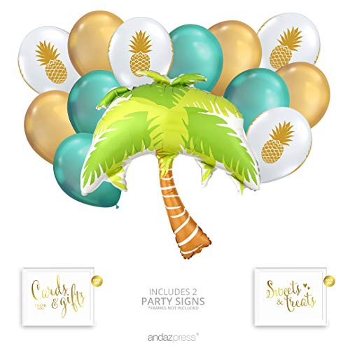 Andaz Press Tropical Party Balloon Bouquet Set, Tropical Aloha Hawaiian Luau Theme Supplies, Inflatable Foil Palm Tree, Pineapple Latex Balloons, Bulk Balloon Kits for Pineapple Tropical Decorations -