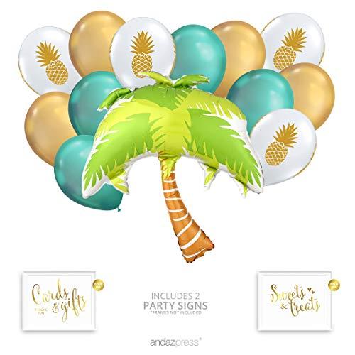 Andaz Press Tropical Party Balloon Bouquet Set, Tropical Aloha Hawaiian Luau Theme Supplies, Inflatable Foil Palm Tree, Pineapple Latex Balloons, Bulk Balloon Kits for Pineapple Tropical Decorations]()