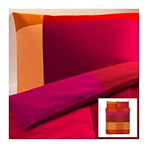 ikea brunkrissla 3pc queen duvet cover and pillow cases orange red home kitchen. Black Bedroom Furniture Sets. Home Design Ideas