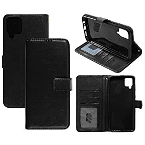 Amazon Brand – Solimo Flip Leather Mobile Cover (Soft & Flexible Back case) for Samsung Galaxy M12 (Black)