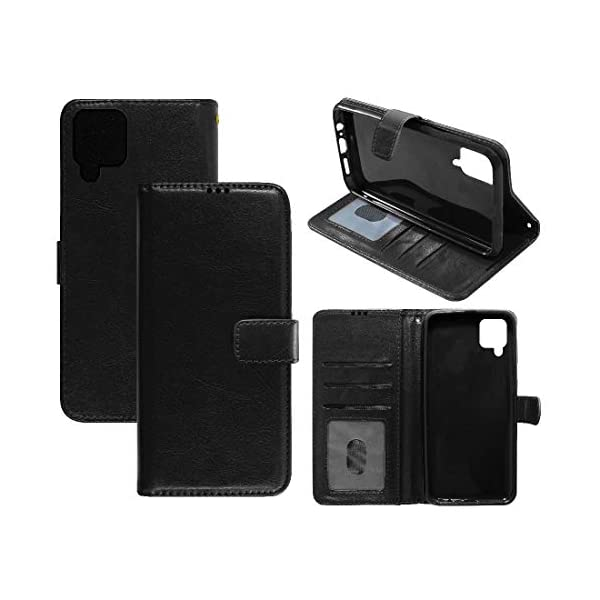 Amazon Brand - Solimo Flip Leather Mobile Cover (Soft & Flexible Back case) for Samsung Galaxy M12 (Black) 2021 July Snug fit for Samsung Galaxy M12, with perfect cut-outs for volume buttons, audio and charging ports Compatible with Samsung Galaxy M12 Durable design combining smooth outer PU Leather finish with soft TPU inner case, Protects phone from scratches, falls, fingerprints and sweat