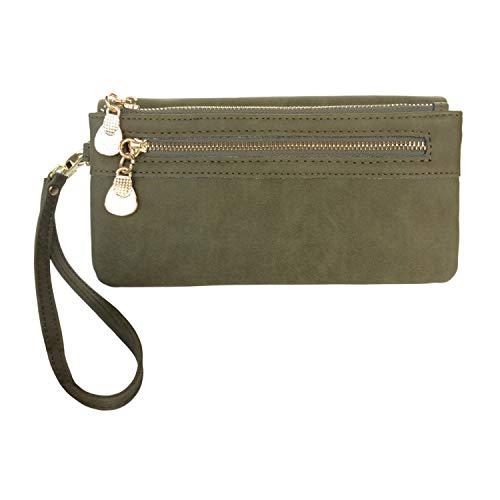 Women's Wristlet Wallet FanCarry PU Leather Clutch Purse Card Organizer w/Front Zipper Pockets (Olive Green)