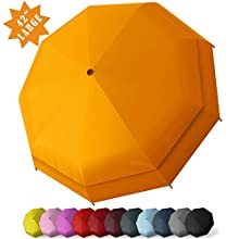 RECHAR Windproof Large Travel Umbrella 一 52/42 inchtwo Size Automatic Unbreakable Umbrella, Men&Women Totes Umbrella (Orange-42inch)