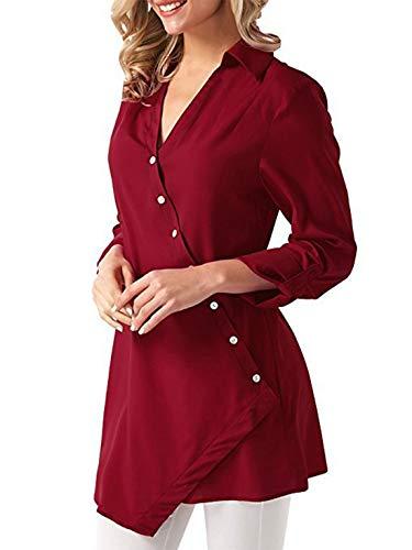OUFour Mode Chemises Shirts Printemps Blouses Couleur Tee Chemisiers Femmes Unie Rouge Tops et Hauts Irregulier Revers Automne Longues Manches rHrxgP