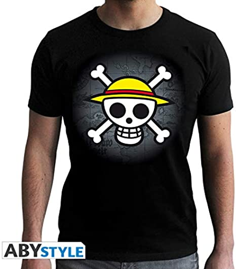 TALLA L. One Piece Skull with Map Camiseta de Negro
