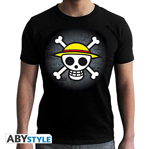 TALLA L. One Piece Skull with Map Camiseta Negro