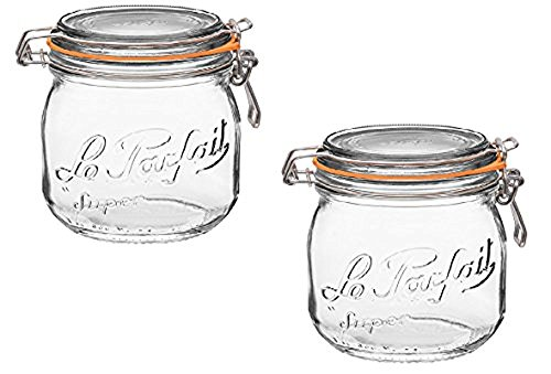 (Le Parfait French Glass Canning Jar with 85mm Gasket and Lid, .5 Liter (Pack of 2) )