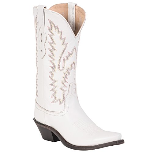 Old West White Womens All Leather 12in Shaft Snip Toe Cowboy Western Boots 5 B ()