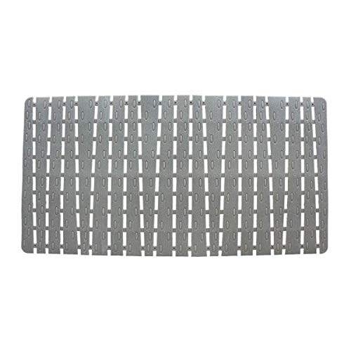 Quable Non Slip Bath Mat Bathtub Mats Shower Mats Non Slip with Drain Hole and Powerful Suction Cups, 31.5'' x 16'' (Gray)