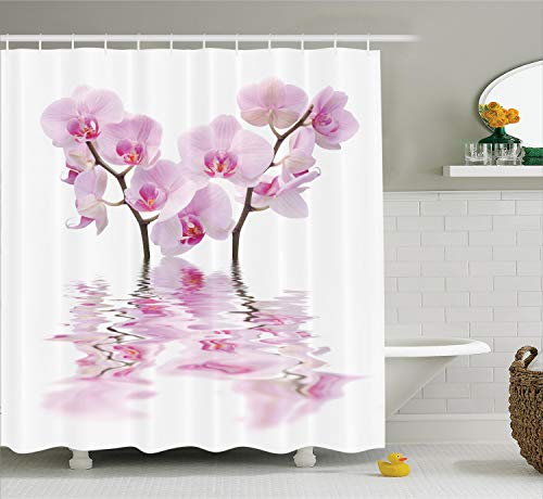 Ambesonne Apartment Decor Collection, Wild Orchids with Mirroring Features in Water Aromatic Bouquet Floral Plant Concept, Polyester Fabric Bathroom Shower Curtain Set with Hooks, White - Aromatic Water