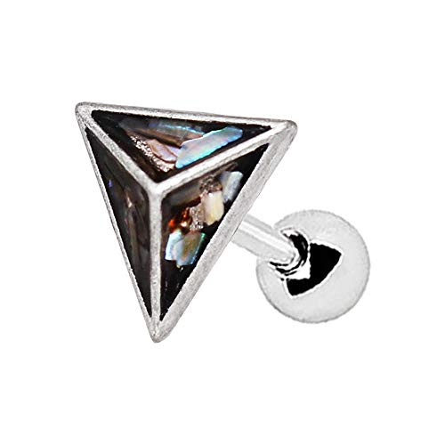 - 316L Stainless WildKlass Steel Abalone Shell Pyramid Cartilage Earring