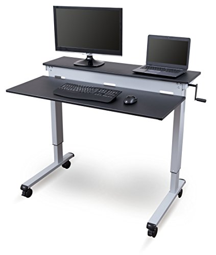 Stand Up Desk Store Crank Adjustable Sit to Stand Up Computer Desk - Heavy Duty Steel Frame, 48 Inches, Silver Frame/Black Top (Standing Desk Height For 6 Foot Person)