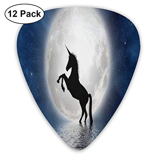 Night Silhouette Unicorn Exquisite Shell Surface Guitar Pick-12 Pieces of Packaging General Purpose