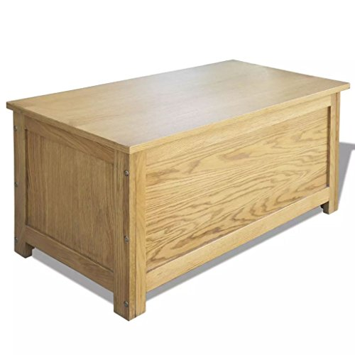 FESTNIGHT Fesnight Storage Chest Oak Storage Box Trunk Cabinet Wooden Toy Blanket Container Case for Bedroom Closet Home Organizer Collection Furniture Decor 35.4 x 17.7 x 17.7 Inches (W x D x H)