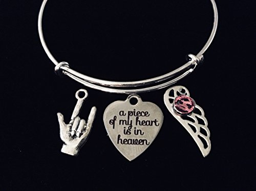 A Piece of My Heart is in Heaven Expandable Charm Bracelet Memorial Jewelry Adjustable Wire Bangle Angel Wing Birthstone ASL Sign Language I Love You Custom Options Available to Personalize ()