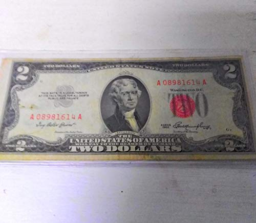 $2 Dollar 1953=A RED SEAL OLD USA Legal Tender Note United States Paper Money - United Note Gold States Seal