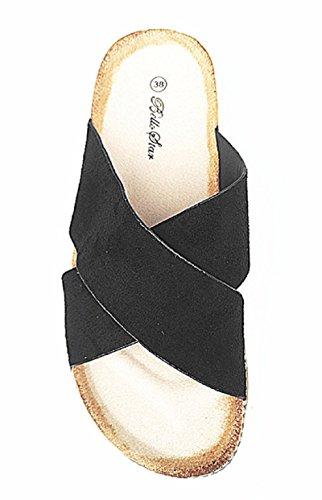 fashionfolie Femme Pantoufles de Plate-Forme Talon Compensés DE 4 cm Plage D'Été Cloutée Sandale S01 Noir IOFwh30vbB