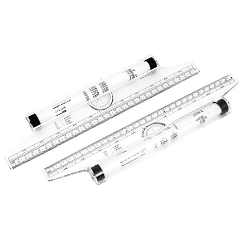 TOOGOO Art Drawing Tool Squares Angle Parallel Line Rolling Ruler 30 cm 2 Pieces