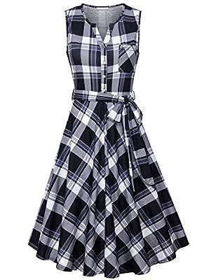 Womens Sleeveless V Neck Button Accent Knit Dress with Belt