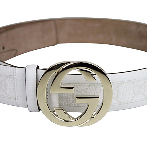 566d7af33dd Gucci Men s White Supreme GG Canvas Interlocking G Buckle Belt ...