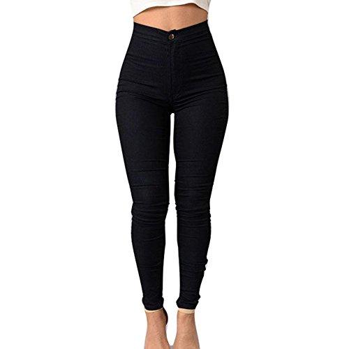 Femme Jeans Jeggings Taille Haute - Femmes Broderie Straight Denim Pantalon Stretch Denim Pantalon Sexy Crayon Pantalons Casual Skinny Jeans - hibote S-3XL Noir Pas de Fleurs