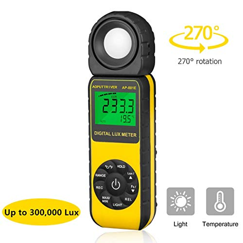 Light Meter AP-881E Light Meter for Plants Illuminance Meter Lux Meters with Display 3999(Range from 1~300,000Lux),Unit Lux/Fc,MAX/MIN,Back Light,Data Hold,Data Storage