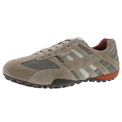 Geox Men's Snake Suede Fashion Sneaker,Beige/Orange,44 EU/11 M