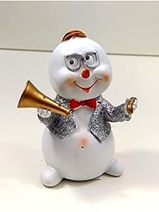Muñeco de nieve Músicos trompeta Gafas Figura decorativa Escultura de Navidad Papá Noel