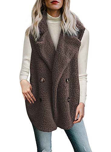 - Dokotoo Womens Plus Size Solid Loose Winter Elegant Sleeveless Fluffy Warm Open Front Waistcoat Vest with Pockets Coat Outerwear Cardigans Coffee XX-Large