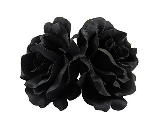 Rose Flower Barrette Hair Clip (Black)