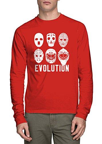 HAASE UNLIMITED Long Sleeve Men's Evolution of Goalie Masks Shirt (Red, XXX-Large)