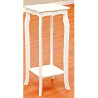 Small Tall Accent Table with Shelf Square White Narrow Curved Classic Telephone Stand Side End Table for Living Room eBook by Easy&FunDeals