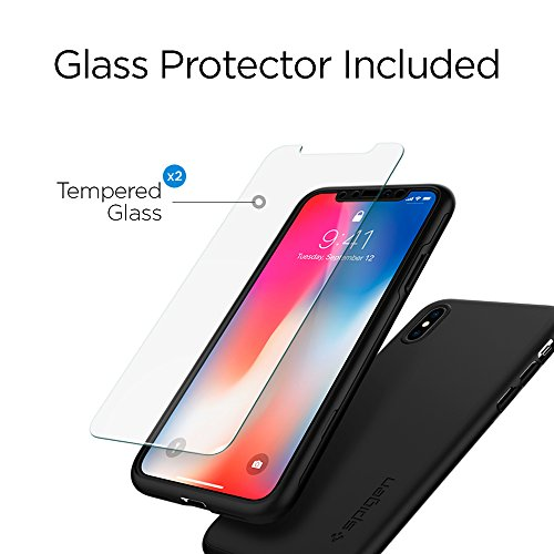 Spigen Thin Fit 360 iPhone X Case with Exact Slim Full Protection with 2 Packs of Tempered Glass Screen Protector for Apple iPhone X (2017) - Black by Spigen (Image #3)
