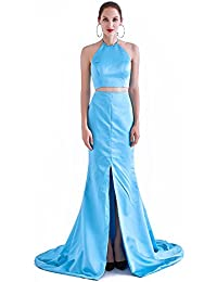 France CG Women's Fishtail Long Evening Prom Dress Halter Neck Side Slid Sexy Cocktail Gown J-0239