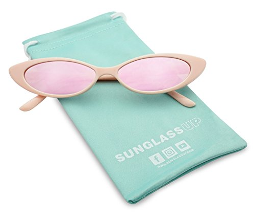90'sInspired Small Slim Narrow Oval Colorful Mirrored Lens Cat-Eye Sun Glasses (Pink Frame | Rose Pink) (Sunglasses Womens Mini)