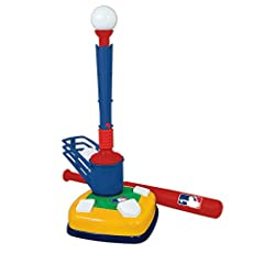 "The Franklin Future Champs MLB Super Star Batter 2-in-1 Tee Ball Combo offers two fun ways for kids to learn to play baseball! Kids start by hitting from the tee. Once confidence is gained, simply remove the ""T"" attachment to reveal the ""pop-..."