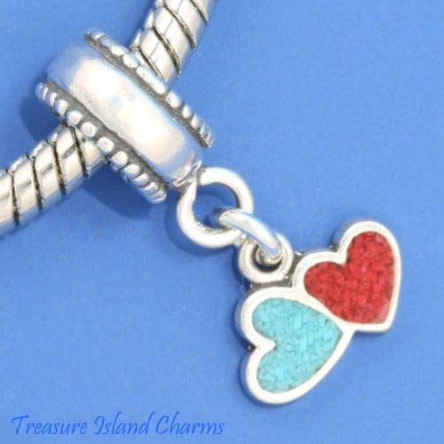 (Blue and RED Pair of Hearts 925 Sterling Silver European Dangle Bead Charm Crafting Key Chain Bracelet Necklace Jewelry Accessories Pendants)