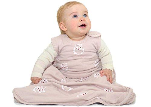 Merino Kids Organic Cotton, Owl Print, Baby Sleep Bag, for Babies 0-2 Years, Light Pink