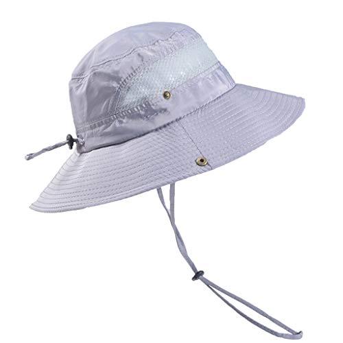 Dressin Outdoor Sun Cap Solid Color Bucket Mesh Hat Fishing Hats Bucket Men Summer String Hat Cap with Drawsting Gray