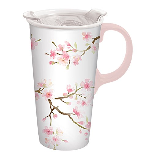 (Cherry Blossom 17 OZ Ceramic Travel Cup - 4 x 5 x 7 Inches)