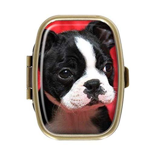 Cecillia Cute Boston Terrier Glasses Decorative Boxes Bronze Rectangular Pill Box Medicine Tablet Holder Wallet Organizer Case for Pocket or Purse
