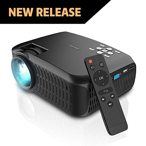 Movie Projector, DBPOWER 2019 Newest 90 ANSI LCD Video Projector Free HDMI 176″ Display 50,000 Hours LED Portable Projector Support 1080P, Compatible with AV, USB, SD, Amazon Fire TV Stick
