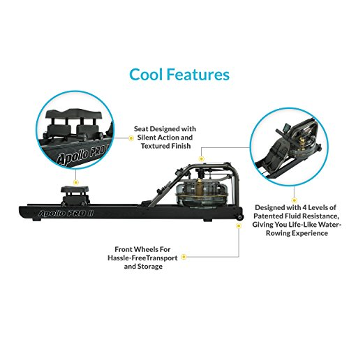 First Degree Fitness Indoor Water Rower with Adjustable Resistance Apollo Pro II Black Reserve