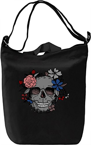 Skull Of Flowers Borsa Giornaliera Canvas Canvas Day Bag| 100% Premium Cotton Canvas| DTG Printing|