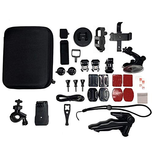 (Drone Accessories, Movable Camera Holder Windshield Cup Mount For DJI OSMO Pocket Shockproof Carry Case Bicycle Stand Suction Cup Adapter Outdoor Must-have(33pc Super Value)Combination Bracket (Black))